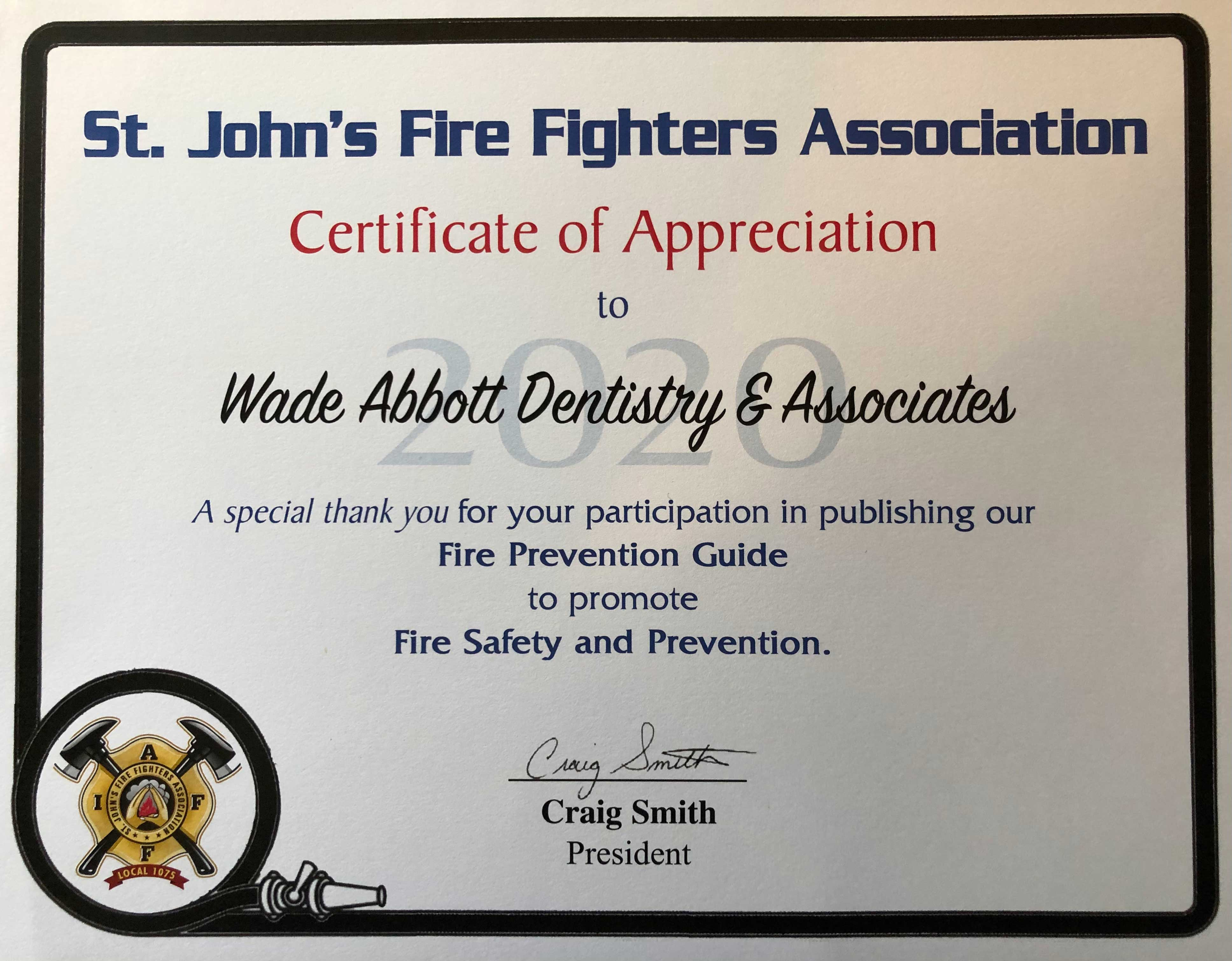 Supporting Local: St. John's Firefighter's Association.